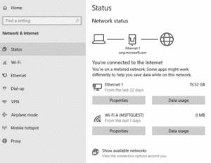 Windows 10 network status page