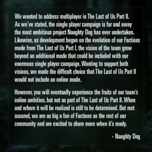 The last of us 2 multiplayer naughty dog factions