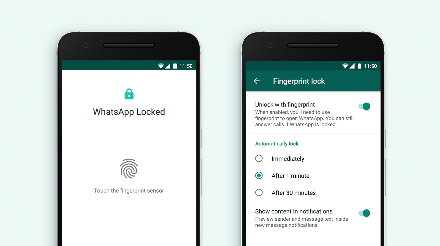 WhatsApp Fingerprint Android