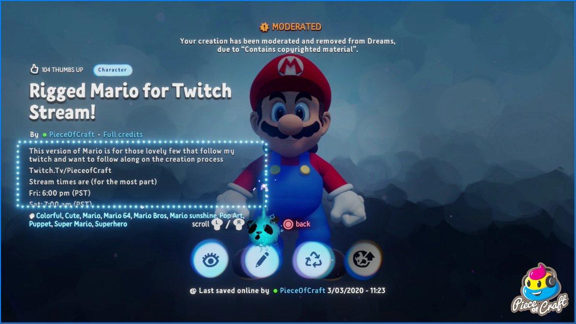Dreams Nintendo Super Mario Sony PS4