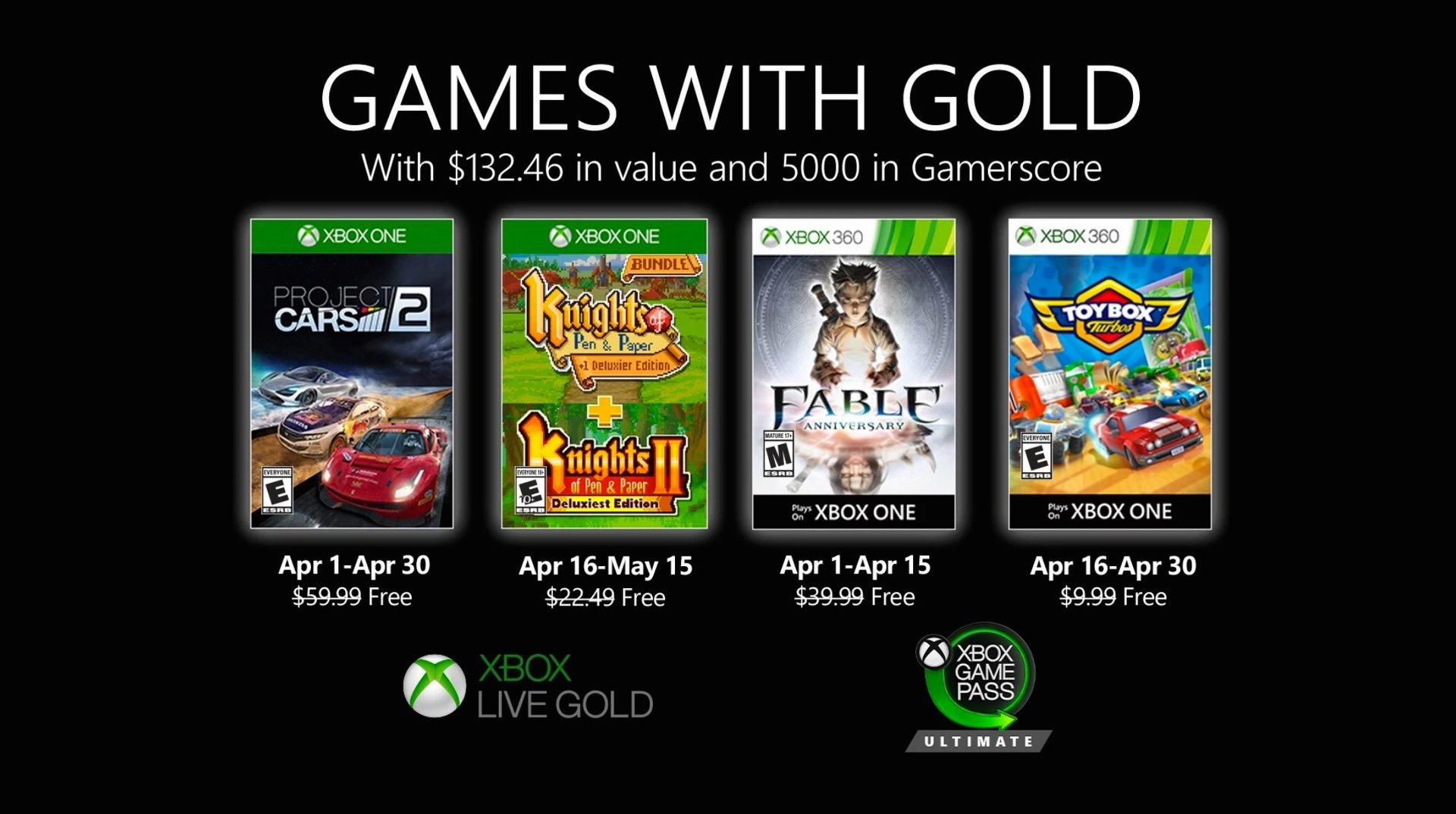 Xbox Games With Gold April 2020 Revealed