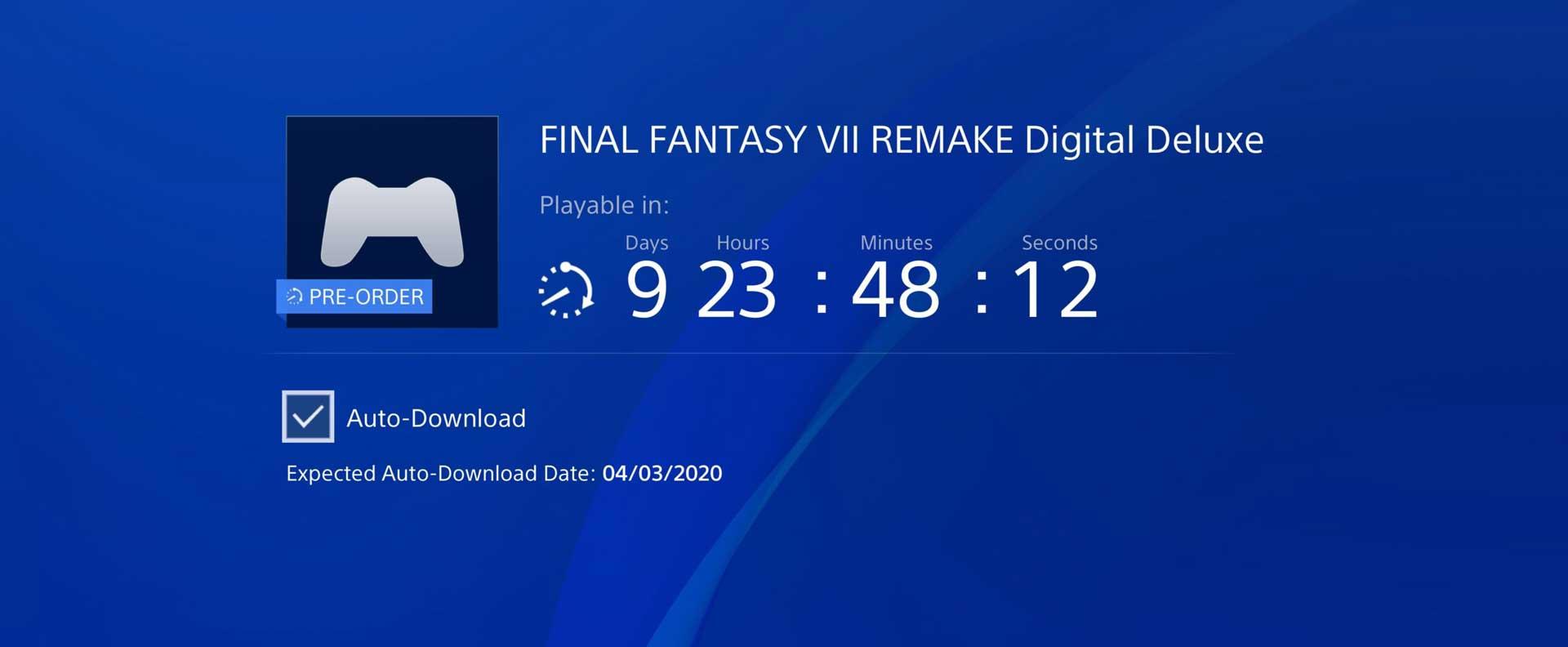 Final Fantasy VII Remake Square Enix Pre-load