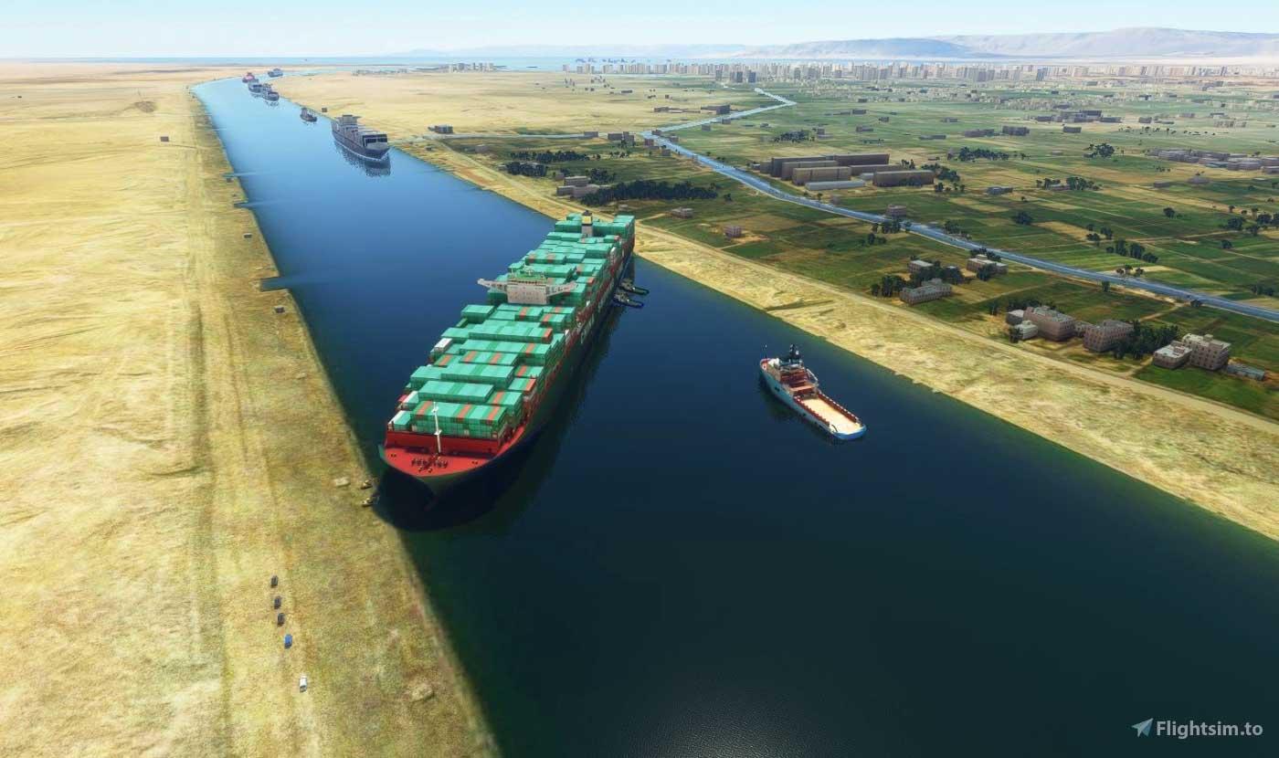 Microsoft Flight Simulator SueZ Canal Cargo Ship