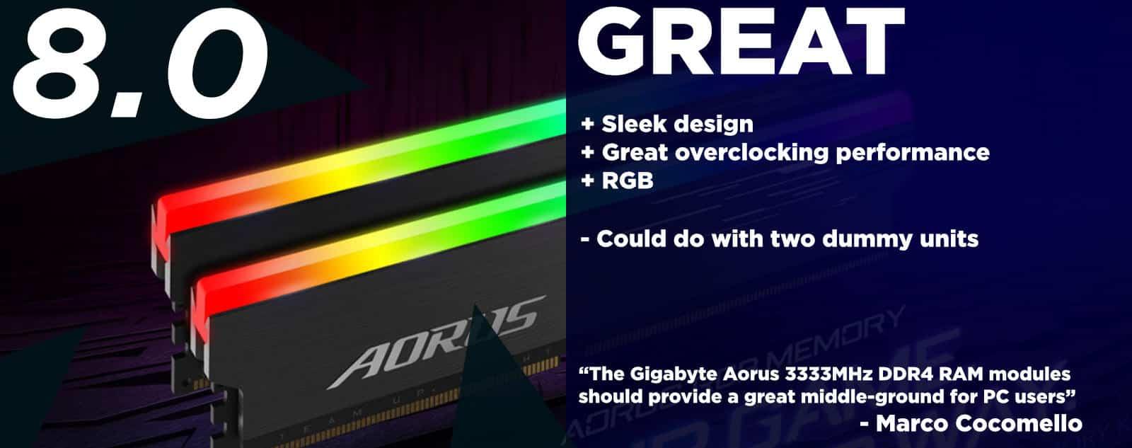 Gigabyte AORUS RGB DDR4 16GB (2x8GB) 3333MHz RAM Review